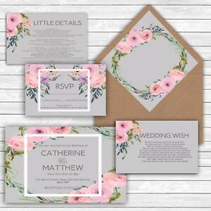 personalised luxury rustic wedding invitations pink grey floral