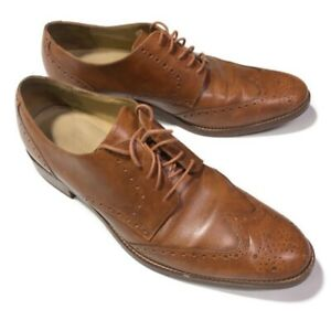 Cole Haan Grand OS C12845 Size 12 M Men Brown Wingtip Oxford Leather Dress Shoes
