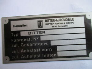Typenschild-Opel-Schild-diplomat-Senator-Bitter-CD-SC-S41