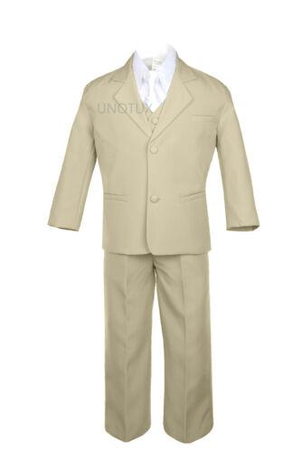 6pcs Boy Baby Toddler Formal Wedding Party Khaki Suits Tuxedo Extra Necktie S-7