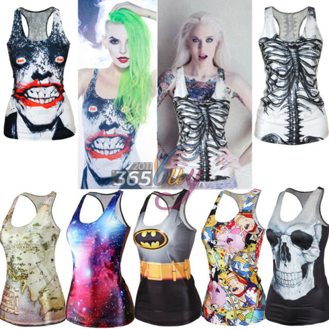 Women's Print Tank Top Vest Blouse Gothic Punk Clubwear Party Sleeveless T-Shirt