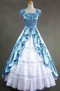 Victorian Lolita Short Sleeves Satin Fancy Dress Cosplay Costume Halloween