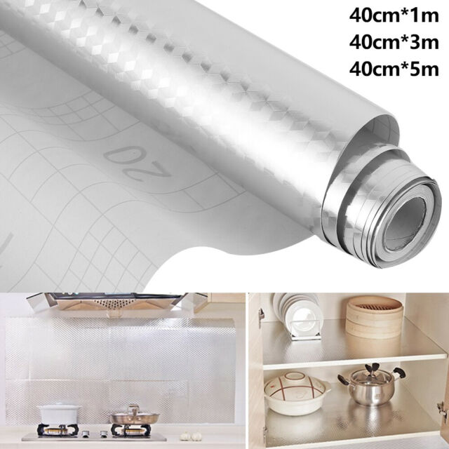 1M/5M Kitchen Sticker Oil-proof Waterproof Aluminum Foil Wallpaper Self Adhesive