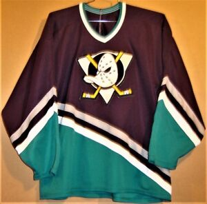 brand new 3078e dd62c Details about MIGHTY DUCKS OF ANAHEIM EGGPLANT KNIT SIZE XXL NHL JERSEY
