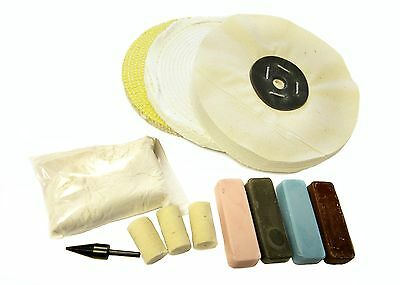 """METAL POLISHING KIT FOR ALL METALS  - 8"""" MOPS + COMPOUNDS(36)"""