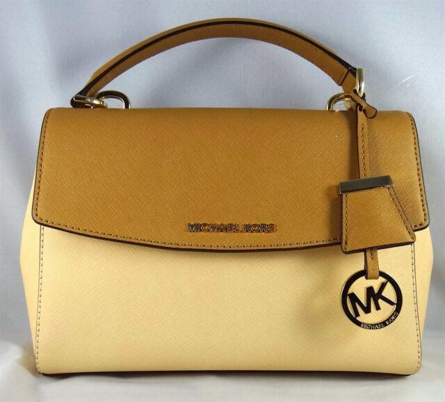 db64a8d1df8a Michael Michael Kors Ava Colorblock Small Nude Peanut Top Handle Satchel Bag