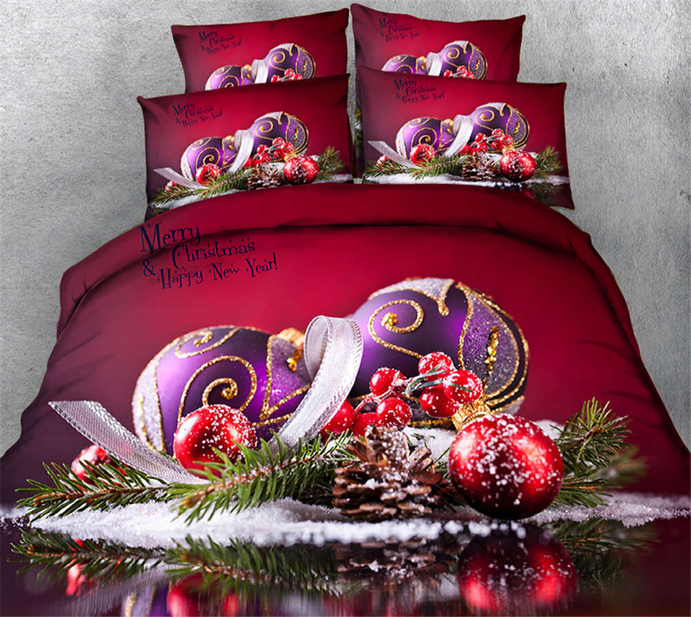 Christmas Ornament 3D Printing Duvet Quilt Doona Covers Pillow Case Bedding Sets