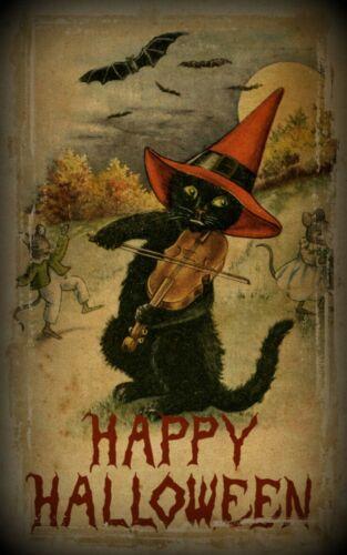 Halloween Cat Fiddling Cat Poster Vintage Halloween Poster Poster Halloween