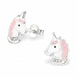 Girls-Ladies-925-Sterling-Silver-Pink-Glitter-Unicorn-Stud-Earrings-Boxed