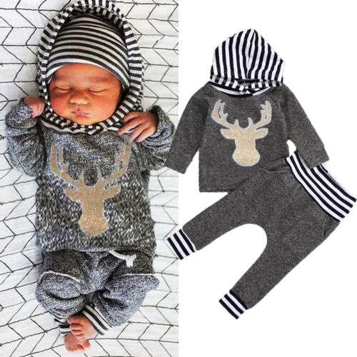 Newborn Infant Baby Boys Girls Cotton Romper Bodysuit Jumpsuit Oufits Set 4PCS