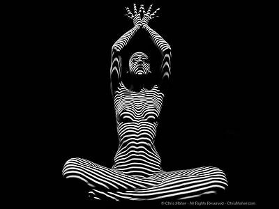9942-DJA BW Stripe Zebra Woman Yoga Pose Hands Above Unique Art Signed Maher