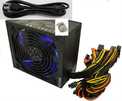NEW SHARK 1000W 80Plus 140mm Blue LED Fan Gaming PC Power Supply ATX 12V 2.3 EPS
