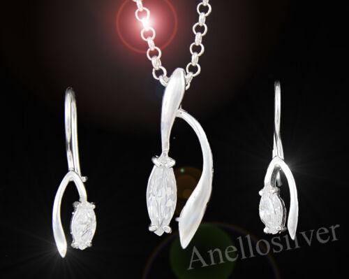 New Sterling Silver Set 925 with Zircon Earrings Pendant Bracelet Christmas Gift
