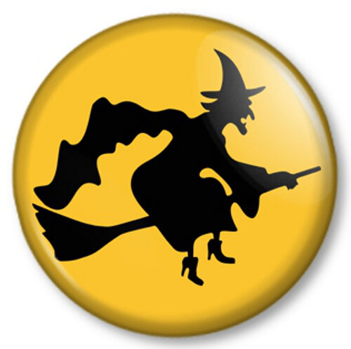 """Witch on Broomstick 1"""" 25mm Pin Button Badge Halloween Fancy Dress Kids Party -1"""