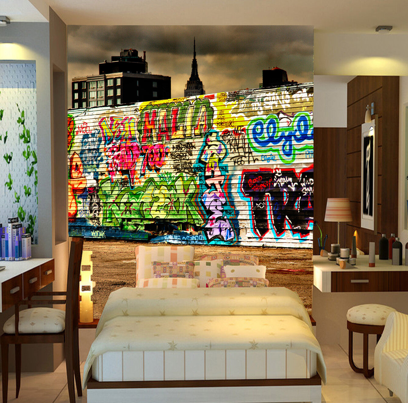 3D City Graffiti 621 Wall Paper Wall Print Decal Wall Deco Wall Indoor Murals