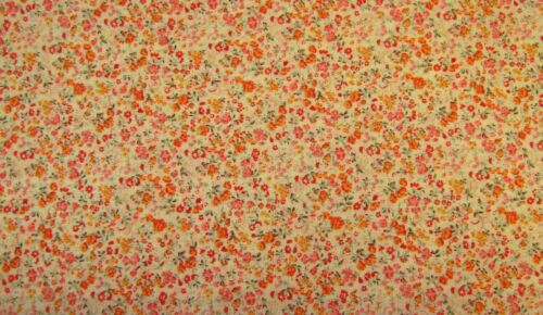Orange Citron Floral 100/% COTON IMPRIME Robe Craft Tissu 160 cm Free P /& p