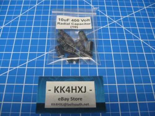 lot of 10 Electrolytic Capacitors 10uF 400V Radial