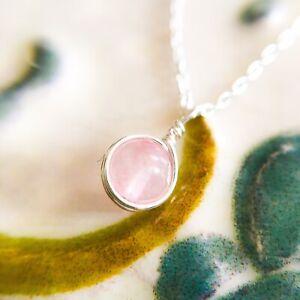 Delicado-Collar-Colgante-de-Cuarzo-Rosa-Cadena-De-Plata-Esterlina-con-pequenas-piedras-preciosas