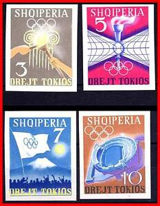 Albania 1964 Olympic Games Tokyo Imperf Set Vf Mnh Cv$ 20.00 Only 17,000 Issued Stamps