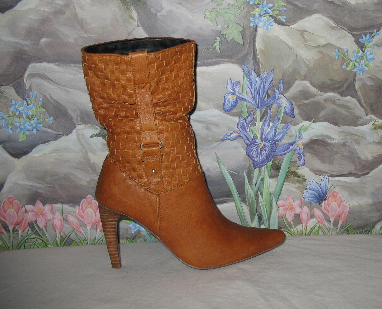 New NANA 'Keiko' Woven Tan Leather w Side Belt Low Low Low Calf Boots sz 7.5 3204f9