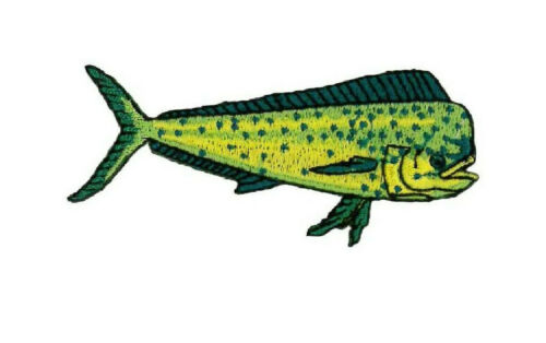 R Fishing Embroidered Iron On Patch Sportsfishing Dorado L Mahi Mahi