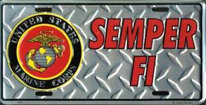 United States Marine Corps Semper Fi Diamond License Plate Car Truck Auto Tag