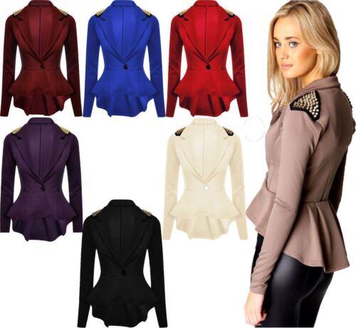 Peplum Frill Blazer Women Long Sleeve Gold Studded Ladies 1 Button Spike Jacket