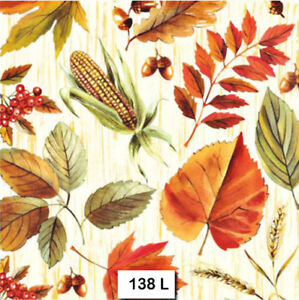 Details about (138) TWO Individual Paper Luncheon Decoupage Napkins ,  AUTUMN LEAVES BERRIES