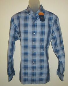 Tommy-Bahama-Mens-L-S-Shirt-Large-Cobalt-Blue-Plaid-Stretch-Fabric-NWT-145