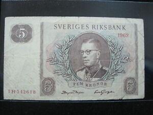 SWEDEN-5-KORUN-1962-SVERIGES-618-Currency-Bank-Money-Banknote