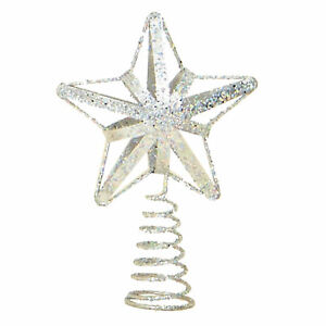 46bd5fcf0df6 Image is loading Christmas-Decoration-Tree-Topper-13cm-Glitter-Star-Silver