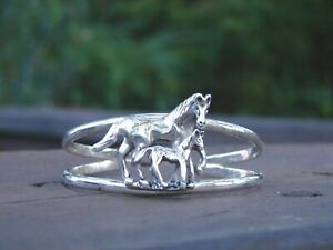 Sterling-Silver-Horse-amp-Colt-Cuff-Bracelet-Made-In-Mexico