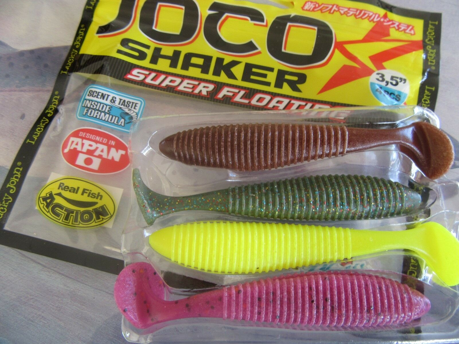 "Lucky john BUGSY SHAD 2.8/"" 3.9/"" eatable soft lure strong shrimp scent"