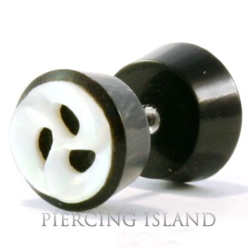 Paar Fake Piercing Plug Ohrringe Geschraubt Horn Muschel Handarbeit F102