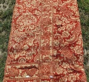 Antique-French-19thC-Brick-Red-Floral-Cotton-Jacquard-Tapestry-Fabric