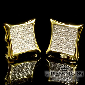 .33CT GENUINE REAL DIAMOND SQUARE KITE 11MM STUD EARRINGS YELLOW GOLD FINISH