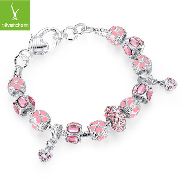 New Silver Plated Charms Bracelet For Women With Pink Crystal Murano Glass Beads