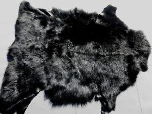 sheepskin leather hide fur Jet Black Toscana long thick silky hair