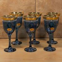 Blue Crystal Stemware Set Of 6 Trim Italian Goblets Unique Wine/ Water Glasses