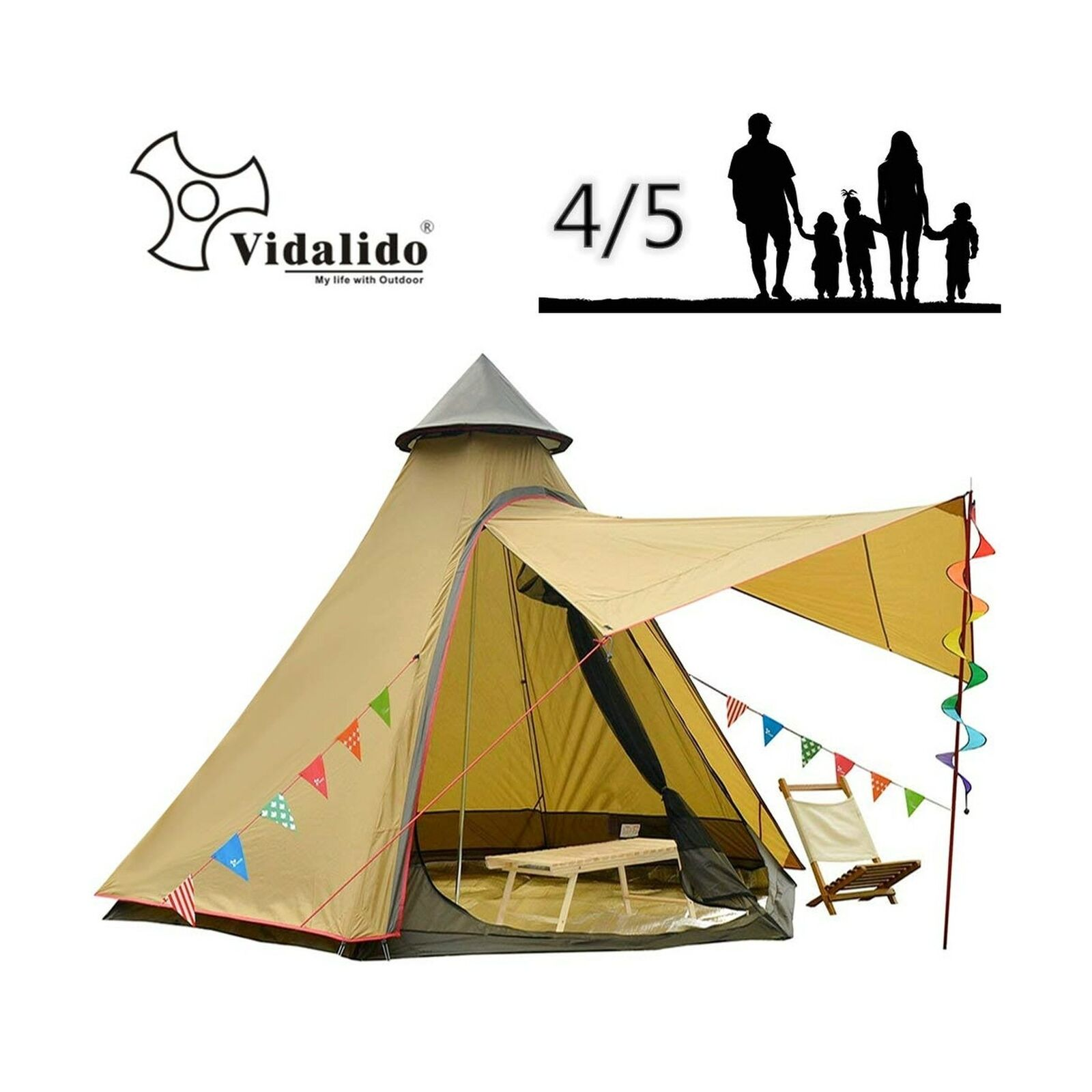 Vidalido 12'x10'x8'Dome Camping Tent 4 -5 Person 4 Season Double Layers Waterp...
