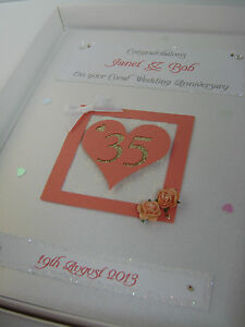 personalised coral 35th wedding anniversary card swarovski crystals