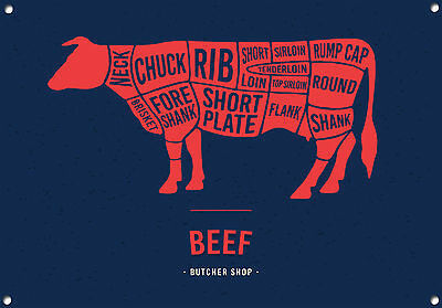 """Cooking Kitchen Enamel No.628 /""""BEEF CUTS/"""" Metal Sign Meat"""