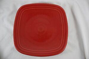Image is loading Fiestaware-Scarlet-9-034-Dinner-Plate-Square-Red- & Fiestaware Scarlet 9