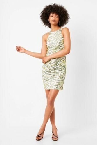 FRENCH CONNECTION LIME FAHRETHA EMBELLISHED SEQUIN BODYCON DRESS SIZE UK 8