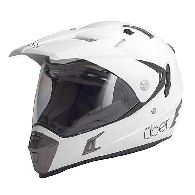 Uber Baja Dual Sport Motorcycle Bike Helmet - Gloss White - Large (59-60cm)