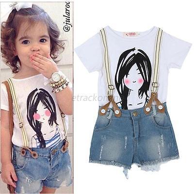 Summer Toddlers Girls Kids Top Shirt+Bib Pants Shorts Outfit Set 2PCS Clothes