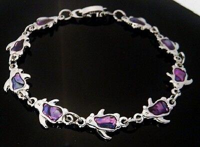 6.25 Inch Purple Penguin Bracelet genuine Paua Shell inlay 15.90 cm