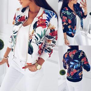 15c748ceb8d1 Fashion Womens Ladies Retro Floral Zipper Up Bomber Jacket Casual ...
