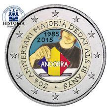 Andorra 2 Euro Münze 2015 stgl 30 Jahre Volljährigkeit für 18-jährige in Farbe