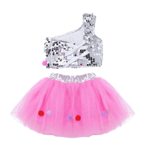 UK Girls Sequins Ballet Jazz Dance Dress Tutu Skirt Kids Latin Modern Costumes